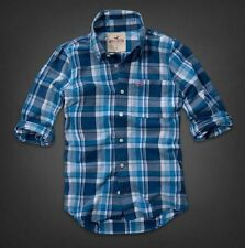NWT HOLLISTER BY ABERCROMBIE MENS REEF POINT BLUE PLAID L/S SHIRT  XL