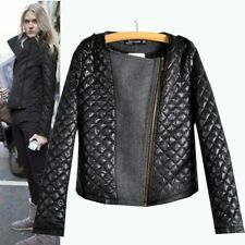 Womens Fashion Cool Long Sleeve Coat Quilted Asymmetric Zip Jacket