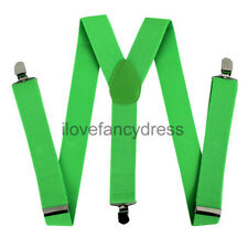 GREEN BRACES ADJUSTABLE ELASTIC THICK SUSPENDERS MENS LADIES TROUSER BRACE