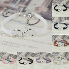 New Handmade Korea Silver Plated Infinity Friendship Leather Bracelet Bangle
