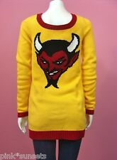 BETSEY JOHNSON Red Hot Devil Tunic Yellow Sweater dress PUNK VINTAGE LABEL