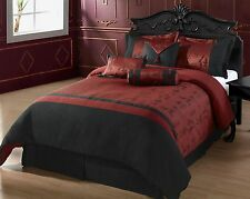 OYUKI 7pc Comforter set, Burgundy, Black Asian Letters KING Size Bed Cover