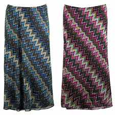 Ladies Womens Plus Size Aztec Abstract Print Maxi Skirt