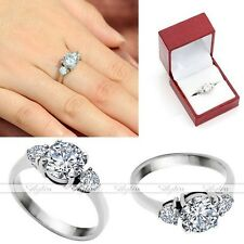 Women's Stainless Steel Round Cut 7.8mm CZ Ring Promise Engagement Wedding Gift