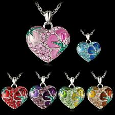 New Fashion Heart Flower Crystal Rhinestone Silver Charm Chain Pendant Necklace