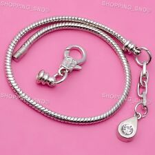 10X Silver Lobster Clasp Snake Chain Charm European Bracelets Drop Crystal Love