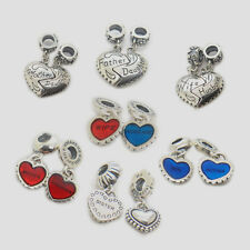 A pair Mother Daughter Mother Son love heart wife husband Dangle S925 Charm bead