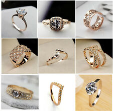 18K Rose Gold Plated Swarovski Crystal Cocktail Wedding Rings New size 6 7 8