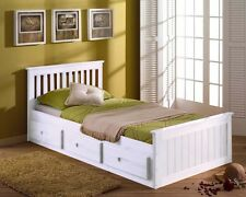 3ft Single Solid Pine Mission Storage Bed Drawers White - Mattress Option