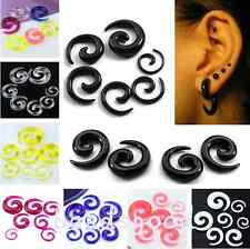 Pair Acrylic Spiral Ear Expander Stretcher Taper Plugs Tunnel Pick Gauge Colors