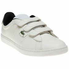 New Mens Lacoste White Broadwick Strap Leather Trainers Tennis Style Velcro
