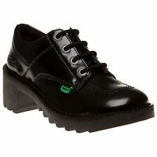New Womens Kickers Black Kopey Lo Leather Shoes Cleats Lace Up