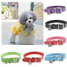 Pet Dog Adjustable PU Leather Collar Heart Crystal Pendant Dot Buckle Neck Strap