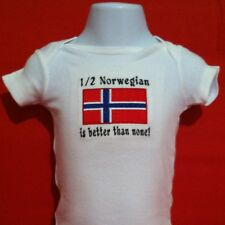 1/2 Norwegian is better than none! Norway Flag Carter's Baby Bodysuit Embroidery