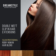 Full Head Double Wefted Clip in Blend Remy Human Hair Extensions Many Colours