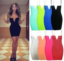 Sexy Plunge Deep V Neck Strap Backless Clubwear Cocktail Party Bodycon Dress A