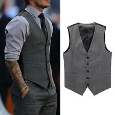 Men Formal Slim Fit Pocket Design Casual Fashion V-neck Vest Coat Tops