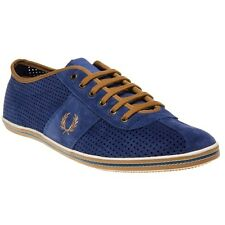 New Mens Fred Perry Blue Hayes Unlined Suede Trainers Retro Lace Up