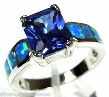 Princess cut Tanzanite & Blue Fire Opal Inlay 925 Sterling Silver Ring Size 6-9