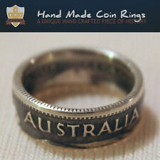 Genuine Australian Shilling Handcrafted into a Coin Ring. Silver. Women Sizes.