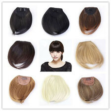 girls clips in front bangs fringe hair extension straight curly All Colors WM