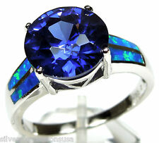 11mm Tanzanite & Blue Fire Opal Inlay Solid 925 Sterling Silver Ring Sz 6,7,8,9