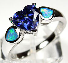 Heart Tanzanite & Blue Fire Opal Inlay 925 Sterling Silver Ring size 6, 7, 8, 9