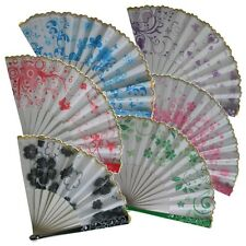 Folded Fabric Multi-Colored Flower Pattern Hand Fan New Great Colors