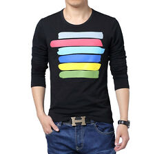 New Men's Fashion Casual Slim Fit Crew-neck Long Sleeve Tops Tee T-shirt 3 Color