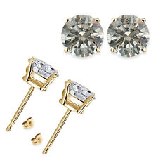 0.50,1,2,3,4 Carat Round White CZ 925 Silver Yellow Gold Plated Stud Earring