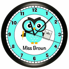 OWL SCHOOL TEACHER WALL CLOCK PERSONALIZED GIFT WALL DECOR TEAL BLUE CLASSROOM