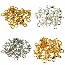10/12mm,100Pc Silver/Gold/Copper Plated Lobster Clasps Hook DIY Jewelry Findings