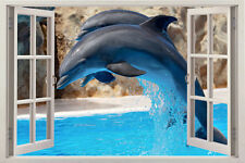 DOLPHIN ANIMAL 3D Window View Removable Vinyl Decal Decor Mural Wall Art Sticker