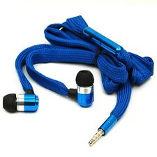 3.5mm Stereo Bass Earbuds Mic Shoelace Headphone For iPhone iPod Samsung LG HTC