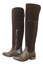 ASOS Brown Suede Leather Flat Heel Over Knee High Pirate Steampunk Boots New