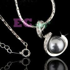 18k white Gold GP Austria Crystal gray pearl pendant necklace N140