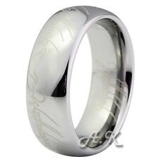 8MM Mens The Lord Of Ring Silver Dome Tungsten Carbide Mens Wedding Band Ring