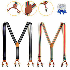 Mens Elastic Leather Striped Suspenders Y-Back Adjustable Belts Braces 6 Clip-On