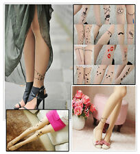 NEW Sexy Women Girls Tattoo Socks Cute Patterns Sheer Pantyhose Stockings Tights