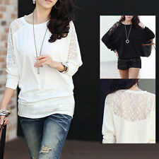Lady Batwing Lace See-through Long Sleeve Dolman Casual T-Shirt Blouse Top