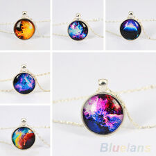 New Elegant Silver Plated Nebula Universe Pendant Glass Cabochon Chain Necklace