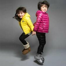 Kids Boy Girls Winter Coat Outwear Down Hooded Jacket Zipper Warm Cute Size 2-6T