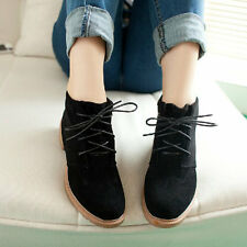 Hot sale! Women Ankle Boots Vintage Lace Up Flat Heel Flock Round Toe Shoes