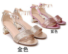 Women leisure sequined tassels low to help peep toe thick with  sandals
