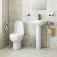 Bathroom Suite Toilet Basin Sink WC Close Coupled Toilet Full Pedestal Two Piece
