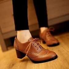 Womens Cuban Heel Brogue Vintage Lace Up Casual Mid Heel Oxfords Shoes Plus Size