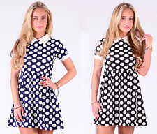 Womens Ladies Collared Short Sleeves Polka Dots Flared Skater Dress Top 8-14