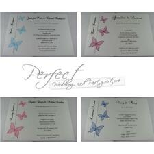 10 Personalised White Wedding Evening Engagement Party Invitations Butterfly