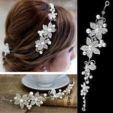 Women Rhinestone Bridal Wedding Flower Pearls Headband Hair Clip Comb Jewelry