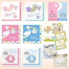 BABY SHOWER NAPKINS, Party Supplies, Paper Serviettes Pink Blue Unisex Boy Girl